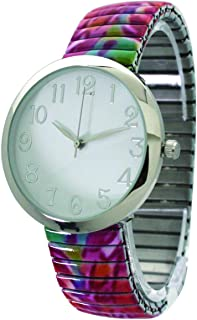Floral Print Stretch Band Watch with Silver Case and Large Numbers