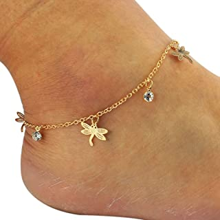 Xuanhemen Fashion Crystal Rhinestones Barefoot Sandals Anklets Chain Lady Foot Jewelry Women Beach Dragonfly Ankle Bracelet
