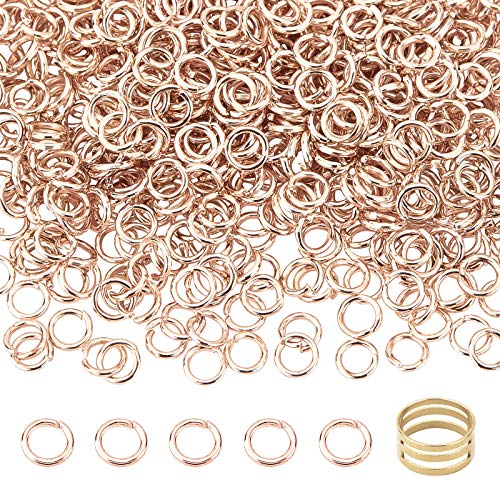 PandaHall Aprox. 5211 anillos abiertos de hierro con ayuda de latón, para pendientes, pulseras, collares, DIY, oro rosa