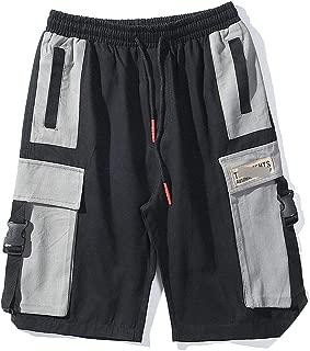 Men Side Ribbons Buckle Color Block Patchwork Cargo Shorts Streetwear Hip Hop Mens Summer Casual Multi Pockets Baggy