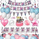 Set Suministros Fiesta Cumpleaños Spa Maquillaje, Globos Cosméticos Moda con Pancarta, Adorno para Tarta, Mantel, Globos Papel Aluminio Forma Corazón para Decoración Fiesta Cumpleaños Niñas 18, 21,30