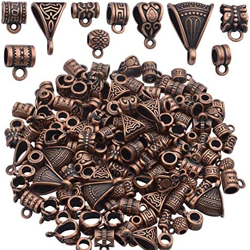 BronaGrand 100g About 120 170pcs Mixed Antique Copper Bail Beads Spacer Bead Bail Tube Beads product image
