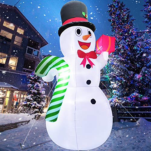 TURNMEON 10 Feet Giant Christmas Inflatables Snowman Candy Cane Christmas Outdoor Decorations with LED Lights Stakes Tethers Holiday Christmas Inflatables Outdoor Decoration Blow Up Yard Decoration