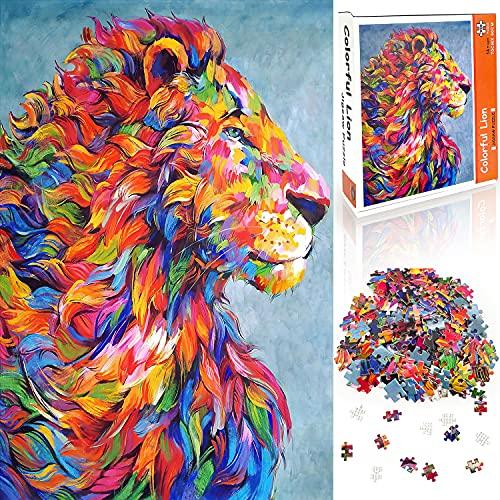 Yetech Puzzle de 1000 Piezas para Adultos,3D Puzzles León de Color,Rompecabezas De Cartón,Obra de Arte de Juego de Rompecabezas para Adultos,Juego de Rompecabezas y Juego Familiar(70x50cm)