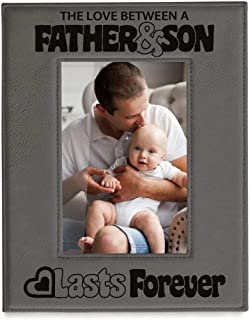 Kate Posh The Love Between a Father & Son is Forever Engraved Leather Picture Frame, Father of The Groom, Best Dad Ever, First Father's Day, Daddy & Me Gifts (4