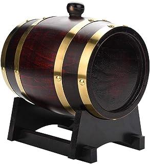 lyrlody Botte di Vino in Legno di Quercia,Dispenser a Vino Botte Legno con Supporto Contenitore per Stoccaggio di Vini Pratica Durable,Barilotto per Rum Whiskey Birra 3L