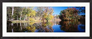 Reflection of Trees in a Lake, Biltmore Estate, Asheville, North Carolina by Panoramic Images Framed Art Print Wall Picture, Espresso Brown Frame, 49 x 21 inches
