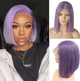 Bob Wigs Human Hair Lilac Purple 12