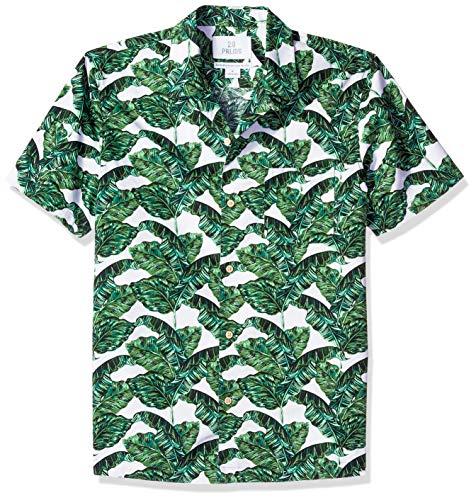 28 Palms Standard-Fit 100% Cotton Tropical Hawaiian Shirt Camisa abotonada, Banana Leaf Green/White, L