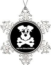 "3"" Ornament, Metal Snowflake Ornament, Tree Branch Decoration Fear The Pirate Schnauzer Large Christmas Snowflake Ornaments Keepsake Gift"