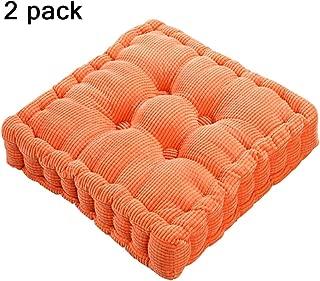 youta Solid Home Floor Cushion Papasan Patio Wicker Seat Cushion Square 20 Inch Set of 2 Indoor/Outdoor Orange