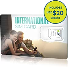 ekit International SIM Card with 20.00 Dollars Credit for Over 190 Countries. Great Data Plan Options - Up To 2GB (6c/MB)