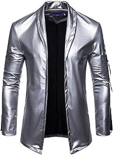 Schoon Men Fashion open voorzijde Slim Fit sjaalkraag Pu Leather Jacket Opgeruimd