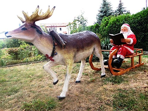 SSITG XXL Renne + traîneau + Père Noël ~ Rose de vie ~ 2,80 m de long ~ Décoration de Noël ~ Père Noël ~ Père Noël