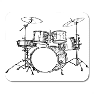 Mouse Pads Roll Music of Drum Kit Rock Jazz Mouse Pad for Notebooks,Desktop Computers Mouse Mats, Office Supplies 10x12 inch
