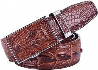 Men's Unique Casual Automatic Buckle Full Grain Alligator Leather Belt
