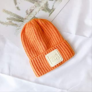 MZHHAOAN Autumn Winter Hats Beanie Boys and Girls Version of Candy Color Comfortable Children's Knitted Letters Thermal Hat
