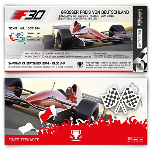 Einladungskarten zum Geburtstag (30 Stück) als Formel Ticket Rennwagen Einladung Karte Rennfahrer