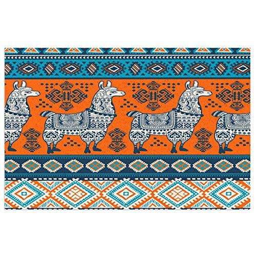 Wozukia Elephants PVC Doormat Tribal Ornament Pattern Aztec Geometric Lace Henna Tattoo Style Blue Orange Non-Slip Waterproof Outdoor Entrance Door Mat Rug Pad 23.6x15.7 Inch