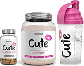 Cute Nutrition Strawberry Meal Replacement Shake with Pink Shaker and Dandelion Root Capsules Weight Loss Control for Women Low Calories Low Fat Estimated Price : £ 39,99