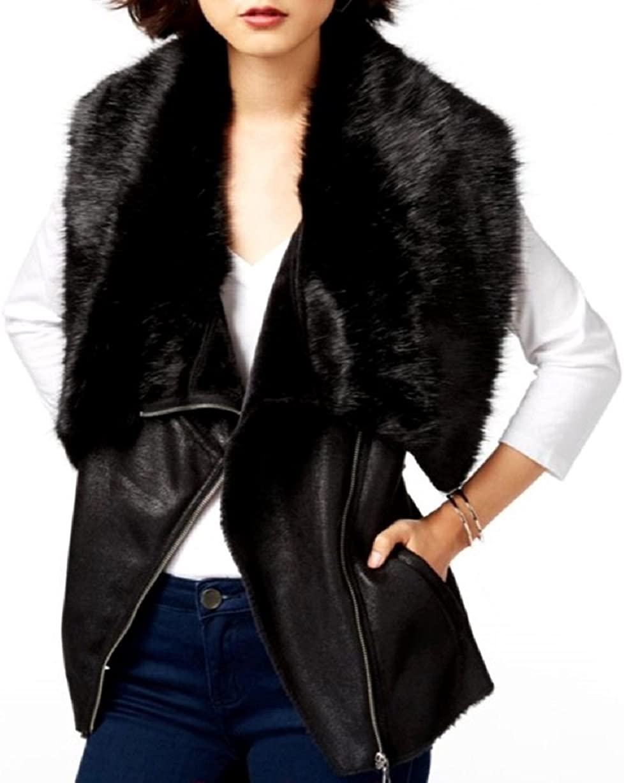 bar III Women's Faux-Fur Moto Vest (Black, Medium)