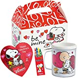 Peanuts Snoopy Valentines Day Gift Basket | Snoopy DIY Color Your Own Mug, Peanut Themed Crayons, Whitman's Sampler Chocolate 1.6 Oz & Favor Treat Box to Put Everything in | Classroom Exchange