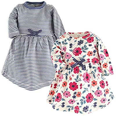 Touched by Nature Girls, Toddler, and Baby Organic Cotton Long-Sleeve Dresses, Garden Floral, 12-18 Months
