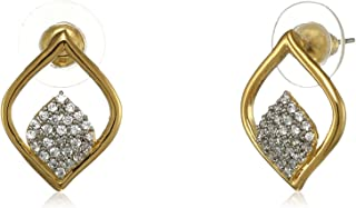 Estele Golden 24 Kt Gold and Silver Plated Brass American Diamond Jyoth Stud Earrings for Women and Girls