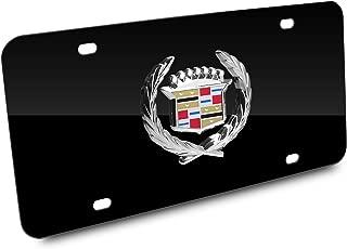 Cadillac Classic Logo on Black Metal License Plate