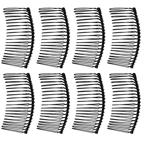 Vococal® Peigne Épingle à Cheveux pour Bricolage Mariée Coiffes Veils Artisanat,8Pcs,Acier Inoxydable Métal,Noir