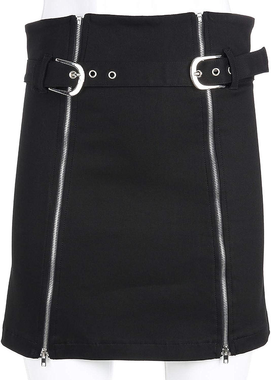 Cute Emma Gothic Punk Rock Skirt Zip High Split Side Open Metallic Belt Short Dress Streetwear Korean High Waist Club