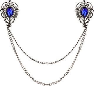 Women Vintage Antique Elegant Fashion Sweater Shawl Chain Clips Cardigan Collar Holders Decorations