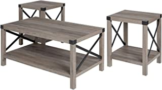 Walker Edison Furniture Company 3-Piece Rustic Wood and Metal Coffee Table Set - Gray Wash