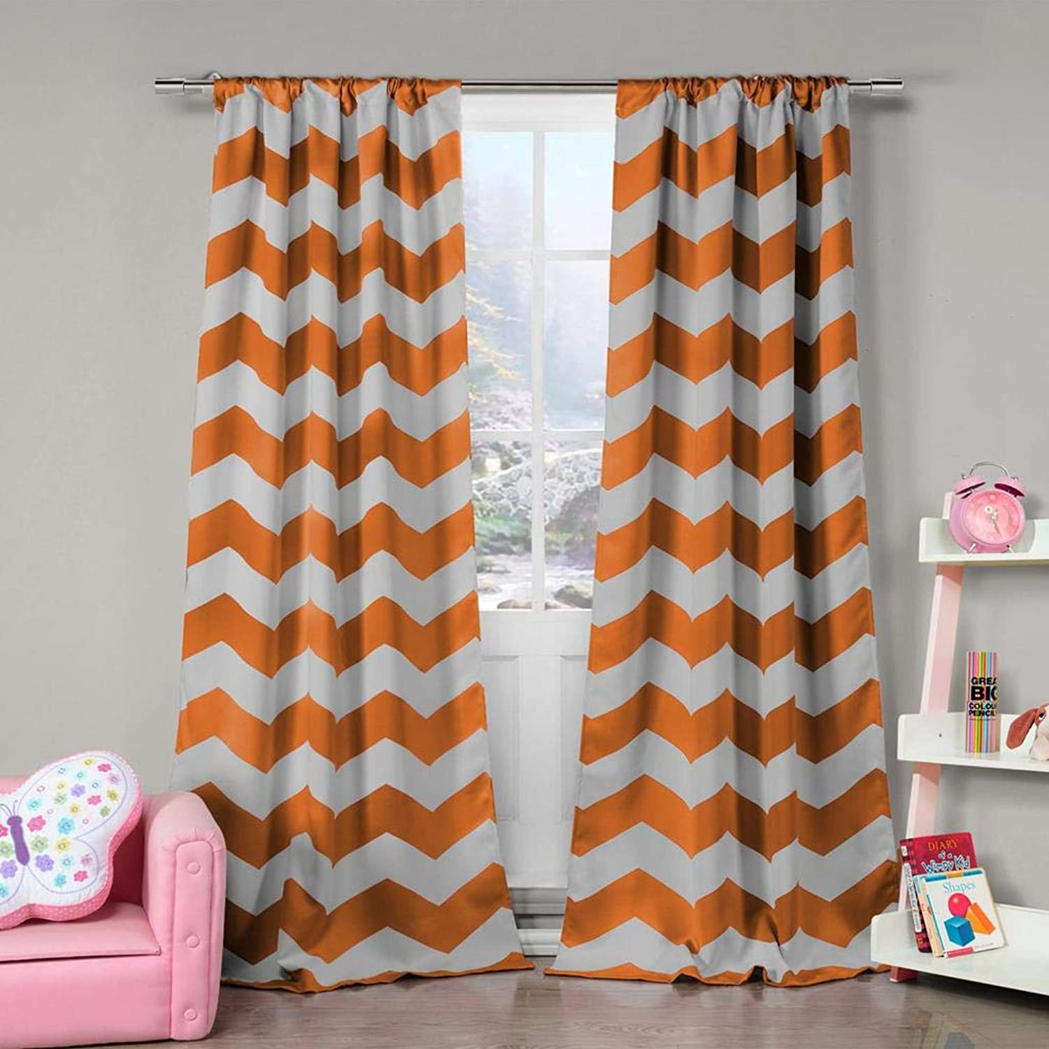 Duck River Textile Home Fashion Chevron Stripe Printed Blackout Darkening Pole Top Window Curtains Pair Drapes for Bedroom, Living Room-Set of 2 Panels, 39 X 84, orange