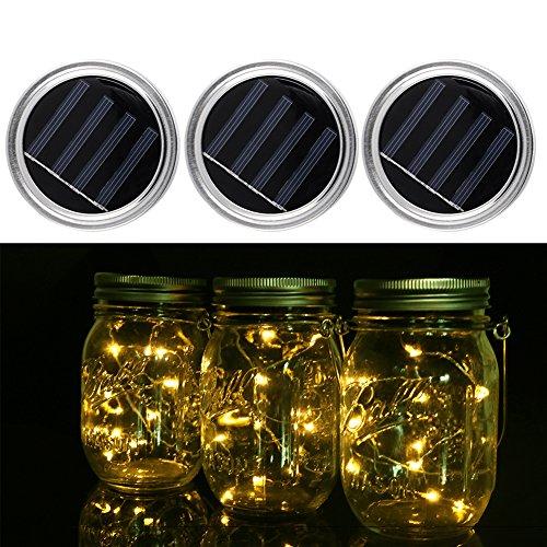 Solar Einmachglas Deckel, 3 Stück Solar Lichterketten mit 10 LED für Garten, Hof, Hochzeit, Party, Bar, Cafe, Glas Einmachglas Dekorationen (Manson Jar nicht inbegriffen) (Warmweiß)