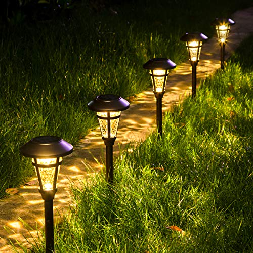 Solpex Solar Pathway Lights Outdoor,6 Pack Solar Garden Lights, Bronze Finshed, Waterproof Solar Walkway Lights Outdoor Lawn, Patio, Yard, Garden, Pathway, Walkway and Driveway.