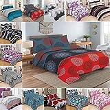 Bettwäsche 2 Teilig, Renforce-Baumwolle, Reißverschluss, 155x220 cm, Rot Grau, Mandala Boho