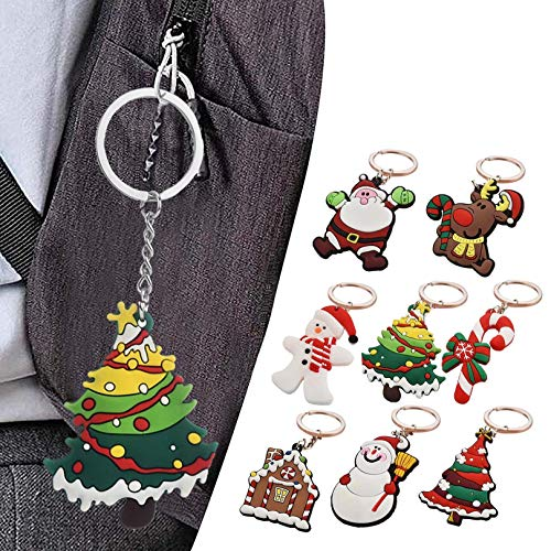 Watopi 8PCS Christmas Keychain Xmas Santa Claus Elk Snowman Keychain Decorations Custom Pendant Small Gift for Friends Kids