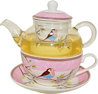 CHILDHOOD Mocking Birds (Robins) Tea for One Set, Borosilicate Glass Teapot and Fine China Porcelain Cup Saucer, Blue/Pink (PINK)