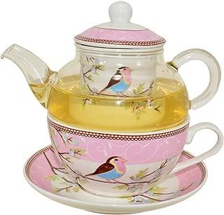 CHILDHOOD Mocking Birds (Robins) Tea for One Set, Borosilicate Glass Teapot and Fine China Porcelain Cup Saucer, Blue/Pink (PINK)