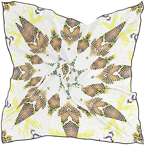 N/A Bufanda de seda Colorido arrecife de coral con peces sobre fondo azul del mar Pañuelo cuadrado para mujer S