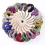 LOVEF 200pcs Glitter Multi-Color Hair Elastics Hair Ties No Crease Ponytail Holders No Metal 5mm Hair Band Ties for Girls Ladies Hair Ring Hair Band