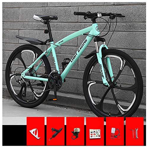 KXDLR Bicicleta de montaña, 26 Pulgadas Ruedas de Bicicleta Edad, Estructura de aleación de Aluminio desplazable Bloqueo Delantero Tenedor-Suspensión de Bicicletas de montaña,Verde,24 Speed