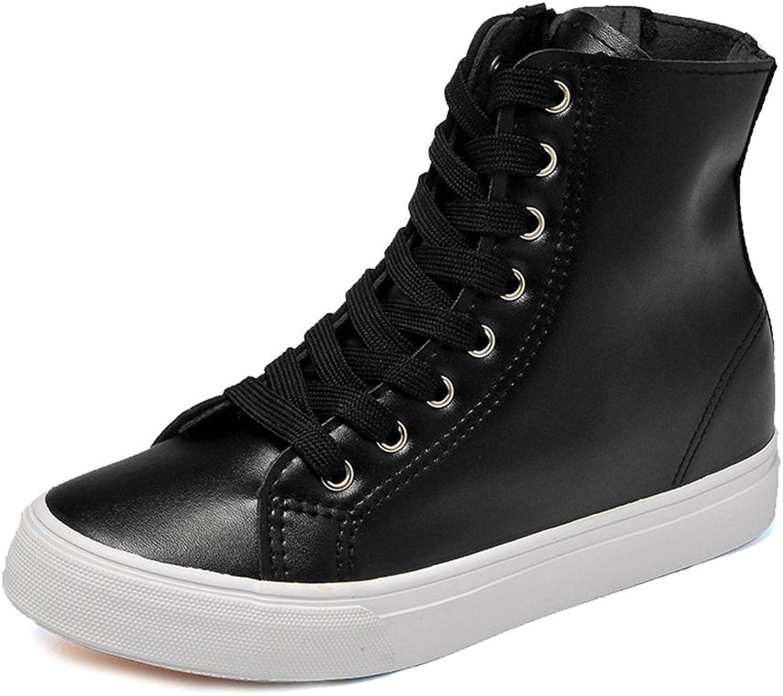 Btrada Women's High Top Casual Running Sneaker Side Zipper PU Outdoor Athletic shoes