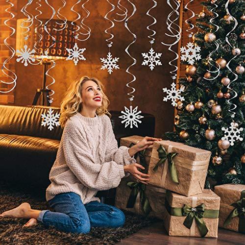 LANMOK Ornamenti Fiocco di Neve di Natale,36 PCS Decorazione Fiocco di Neve di Natale Flash Soffitto Stili Diversi Ornamento a Spirale Festa di Natale