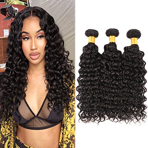 Huarisi Deep Wave Virgin Hair 3 Bundles Brazilian Weaves 10 12 14 Inches Unprocessed Deep Curly Human Hair Extensions Grade 8a Deals for Full Head