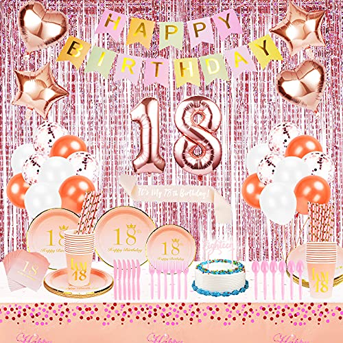 18th Birthday Decorations Party Supplies for Girls - Happy Birthday Banner,18 Mylar Balloon,Rose Gold Foil Curtains,Plates, Cups, Napkins, Straws,Utensils,Table Cloth - Serves 24 (All-In-One)
