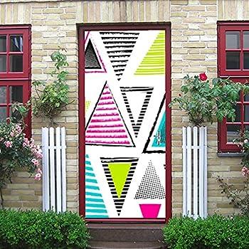 JIUCHUAN Door Sticker Decal Mural Art Sticker Removable Self Adhesive Wall Decal Geometric Ethnic Neon Triangles Wallpaper Room Door Home Decor