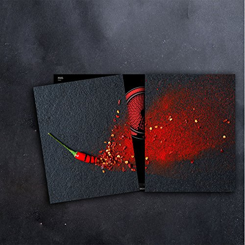 DAMU Herdabdeckplatten 2 x 40 x 52 cm Ceranfeldabdeckung Schutz Herdblende 80x52 2teilig Glas Spritzschutz Abdeckplatte Glasplatte Herd Ceranfeld Abdeckung Schneidebrett Chilli Paprika Gewürze