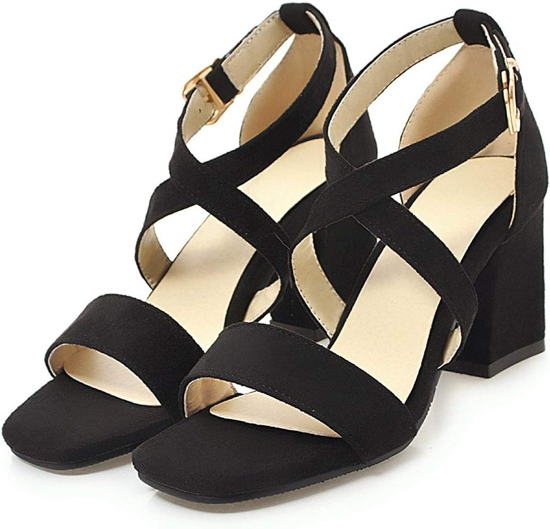 Merry-Heart Summer Open Toe Square Chunky Heels Sandals Women red Black Cross,